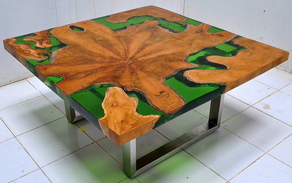 square solid teak root and resin table