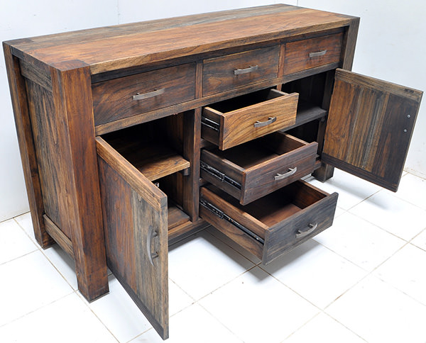 reclaimed teak buffet with recycled paint