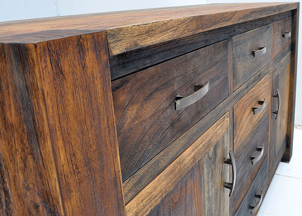 reclaimed teak buffet with recycled solid paint