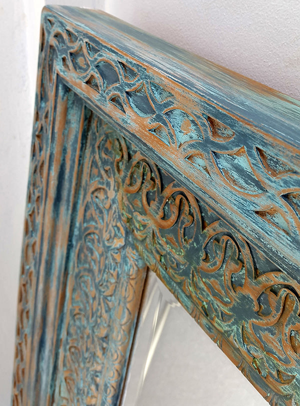 distressed blue wooden finish