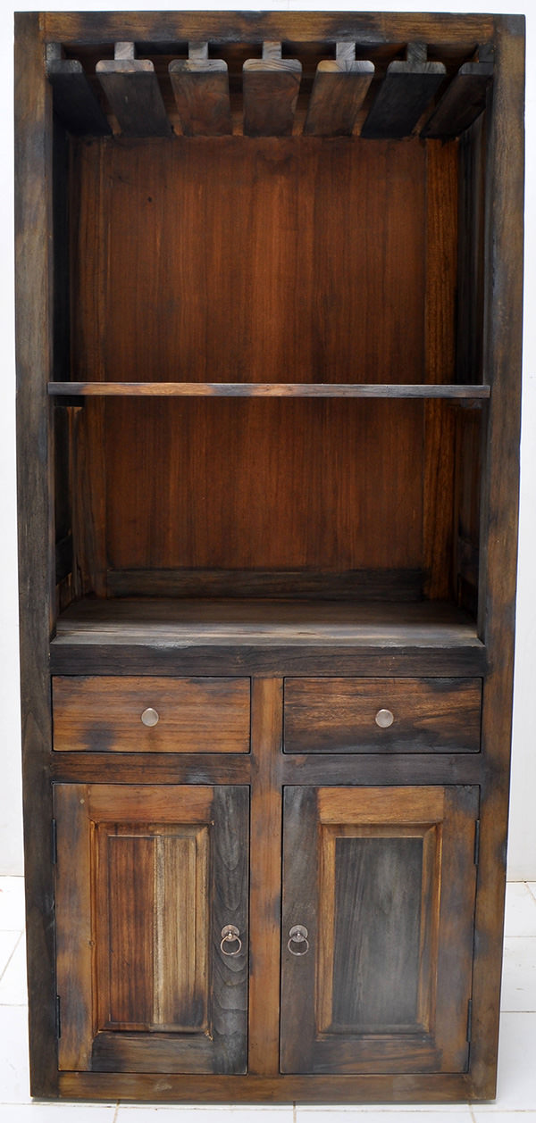 yakisugi teak burnt wood indoor wine cabinet