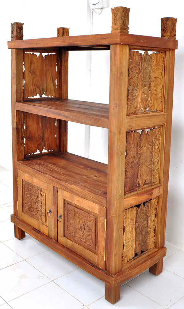 ethnic wooden bookcase with carvings