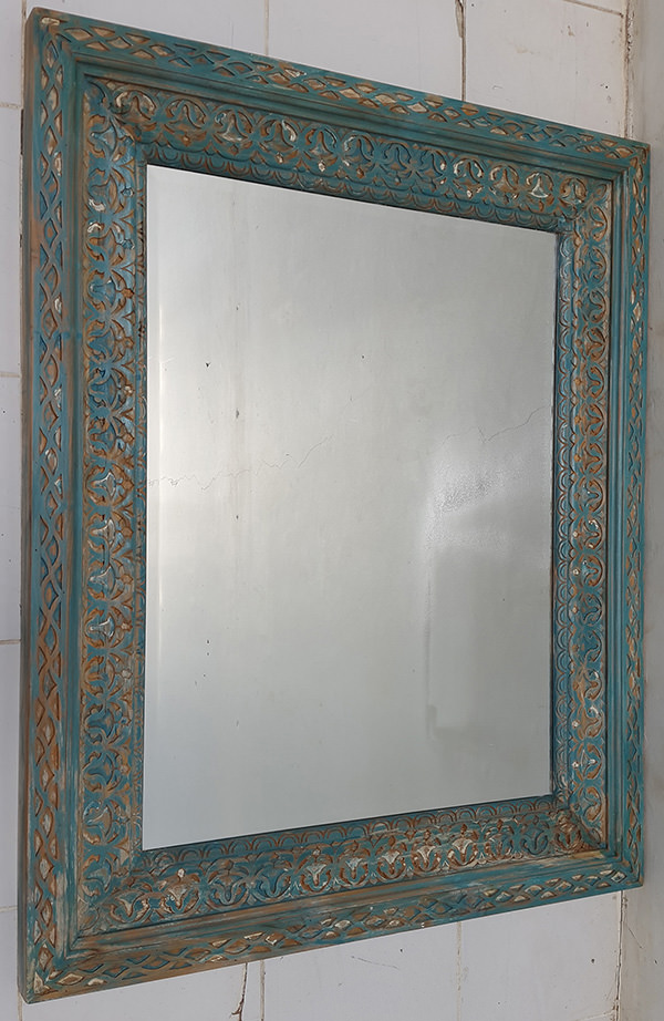 distressed vintage mirror with blue paint