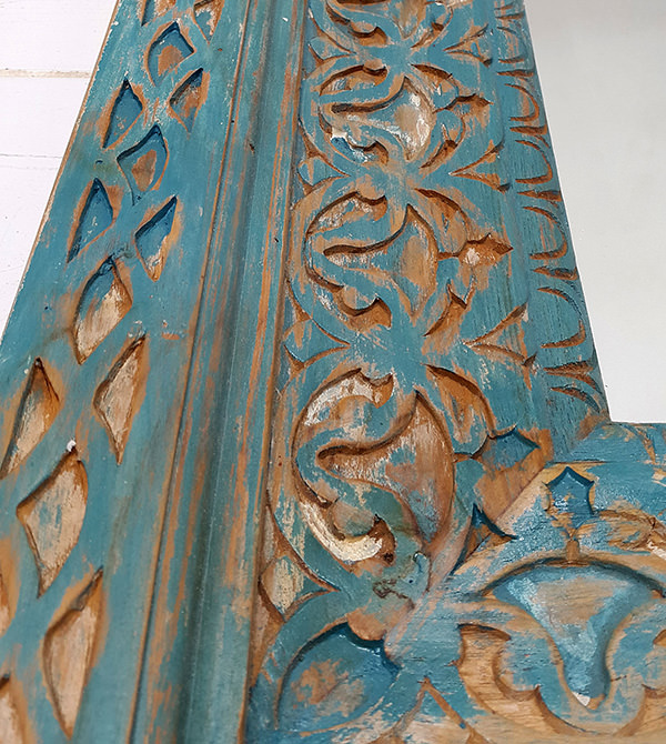 handcarved distressed blue wooden finish