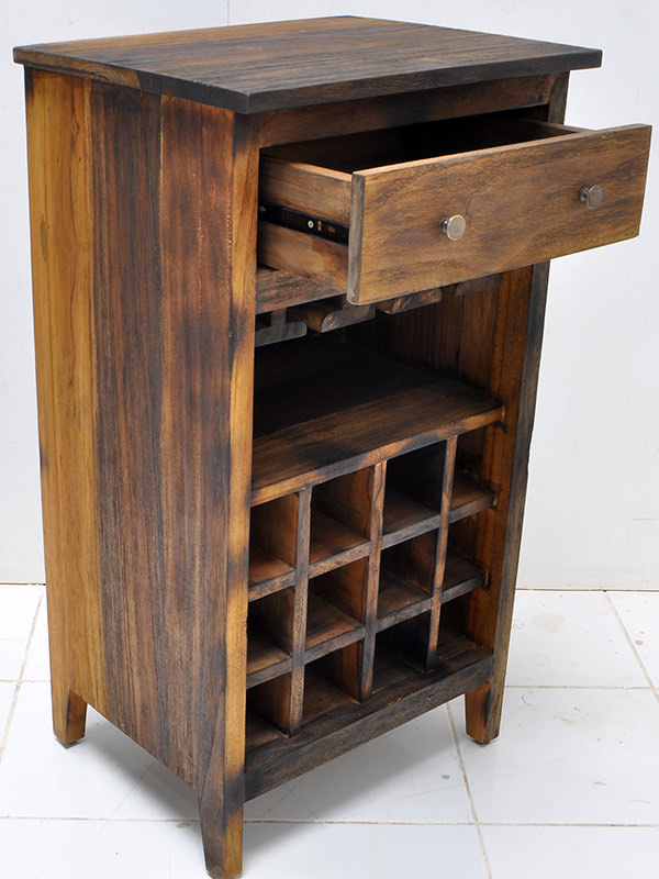 teak wine cabinet with sugi ban finishing
