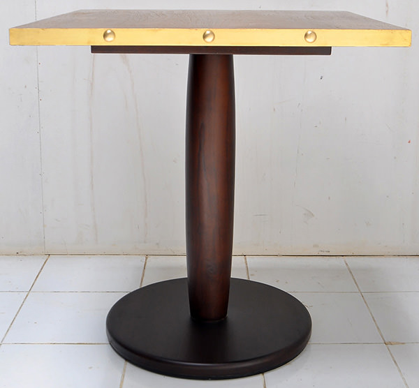 restaurant square dining table with golden brass edges