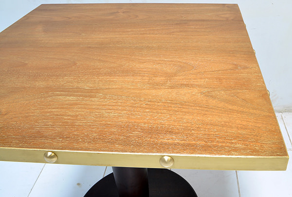 restaurant square dining table with golden brass edges and teak veneer top