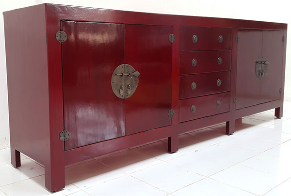 vintage red teak finish