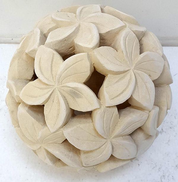 round garden stone lantern with flower carving