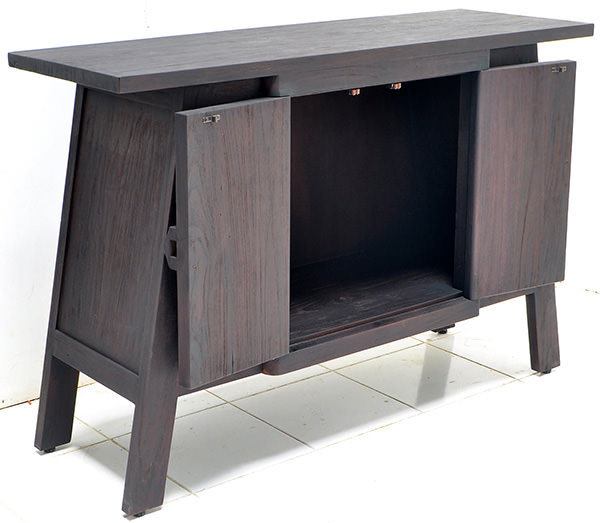 2-doors black rustic buffet with triple burnt furniture finish
