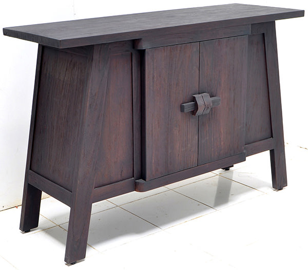 asian 2-doors black rustic buffet with triple burnt furniture finish