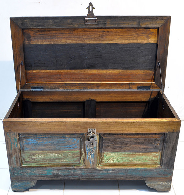 teak timber coffee table with treasure trunk