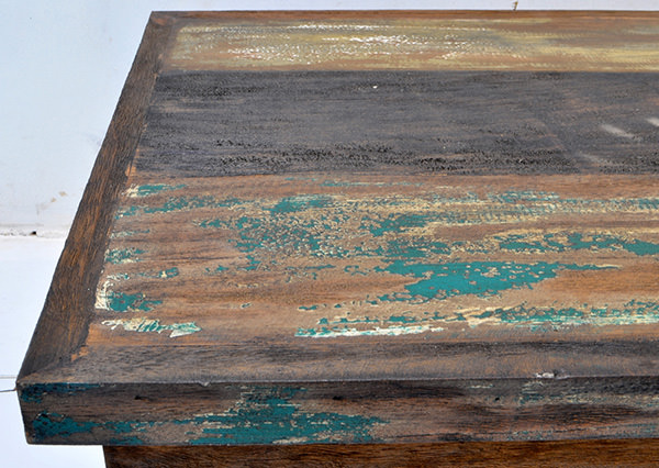 boat wood teak trunk with antique paint