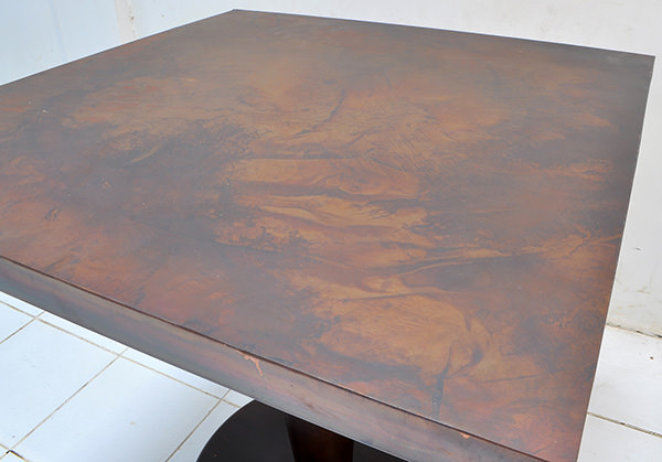 vintage square copper table with antique finish