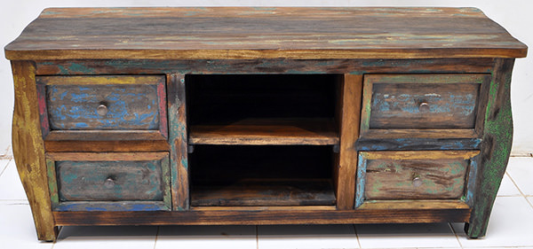 solid paint color antique teak tv stand