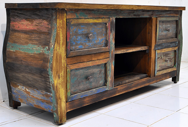 indonesian boat wood teak trunk with antique solid paint