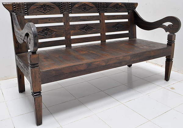 antique teak carvings on reclaimed bench with yakisugi japanese finish