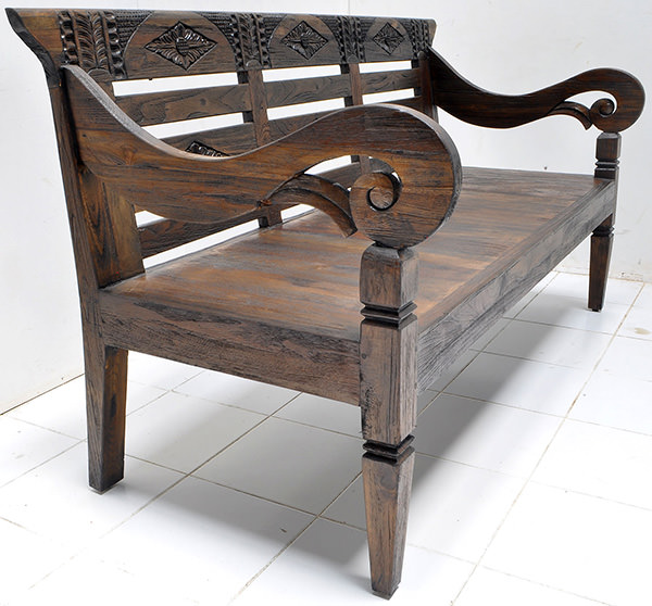 antique teak carvings on reclaimed bench with yakisugi finish