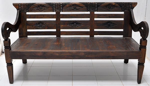 solid paint color antique teak bench