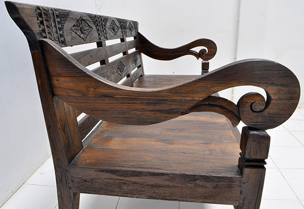 antique teak carvings on reclaimed bench