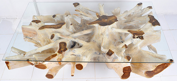 square bleached root coffee table