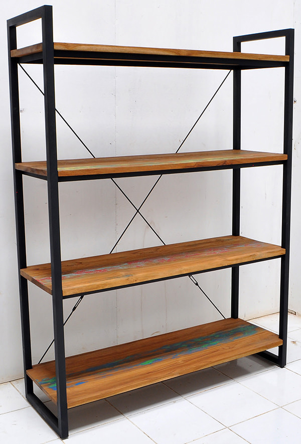teak and iron book rack