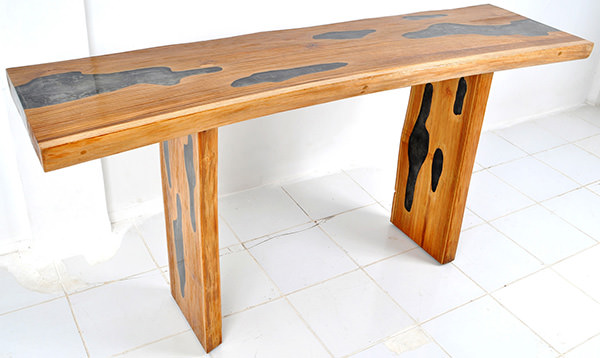 teak and resin console table