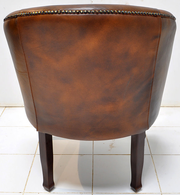 vintage brown leather seat
