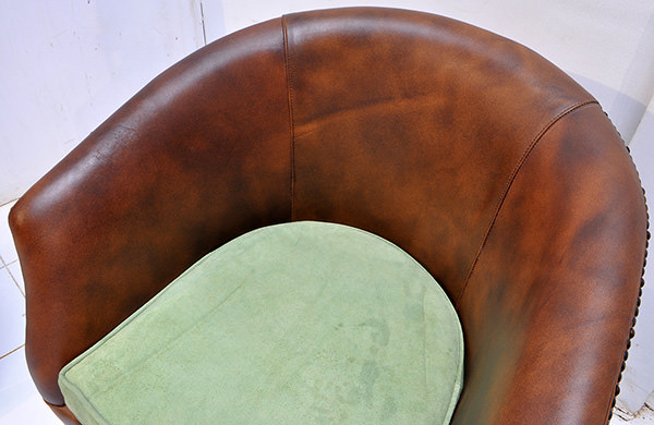 leather restaurant seat with velvet cushion