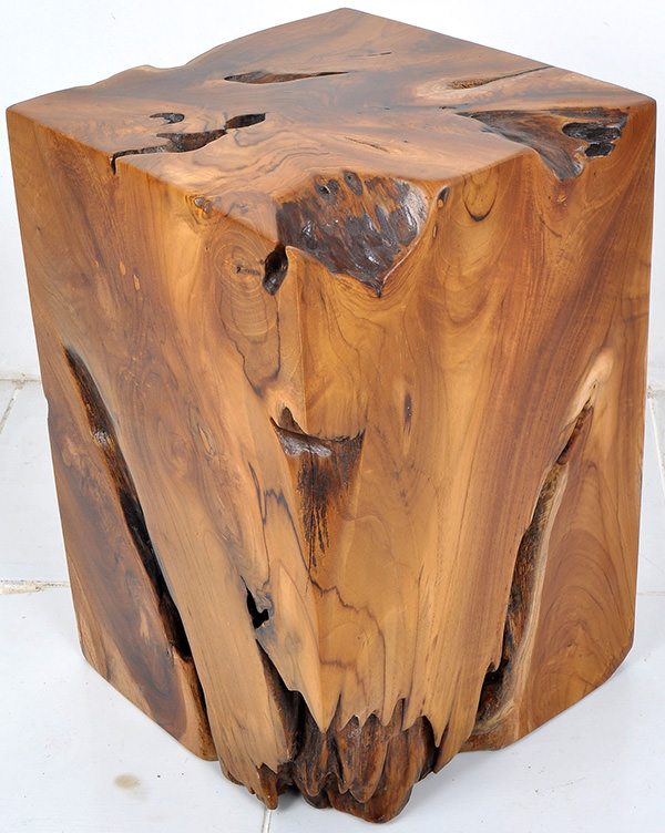 teak root square stool with natural shape