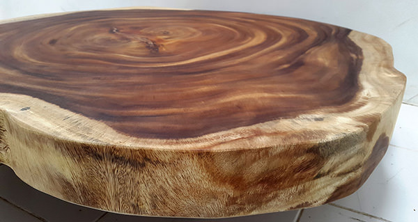 suar natural round coffee table with wood legs