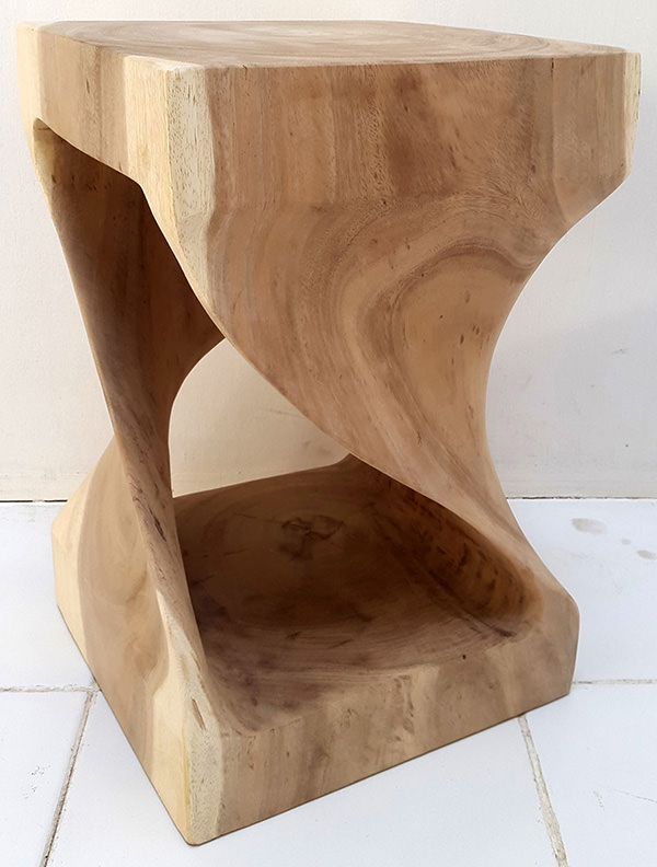 natural suar wooden twisted stool