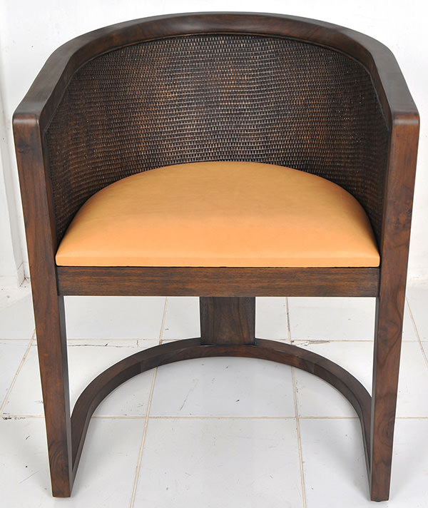 indoor rattan and leather chair