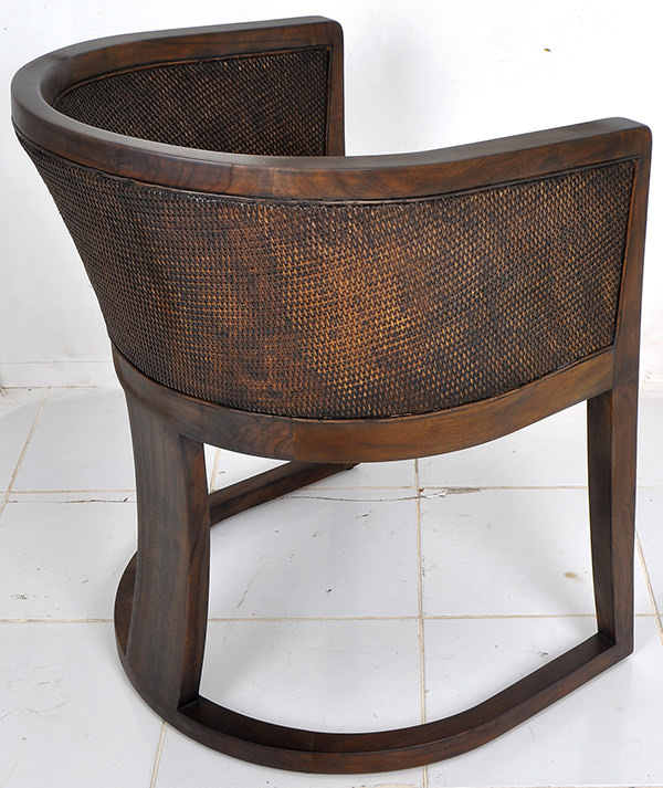 indoor brown rattan and leather chair