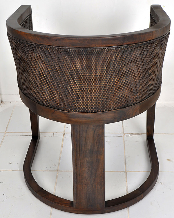 indoor brown rattan and leather dining chair