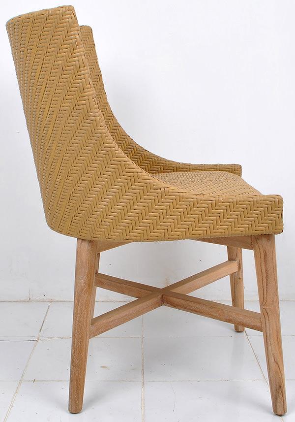 Scandinavian outdoor armchair with teak wooden legs