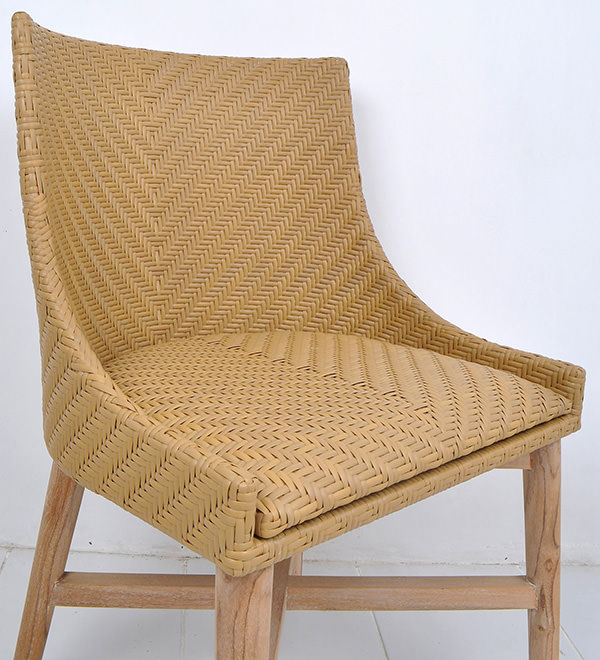 teak Danish armchair with synthetic rattan backseat