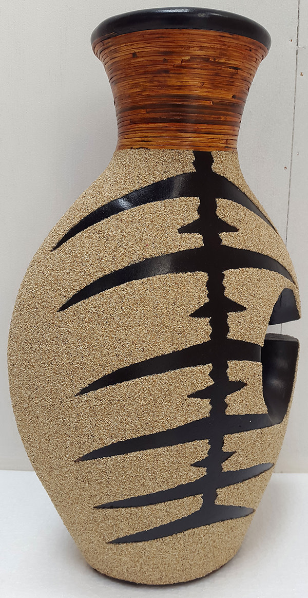 black and cream tiger vase