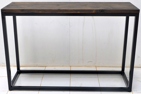 wood burnt console table with iron legs