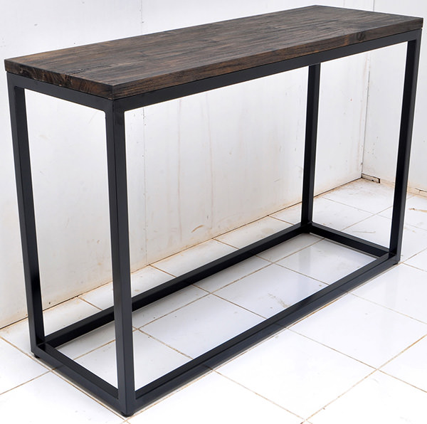 wood burnt console table