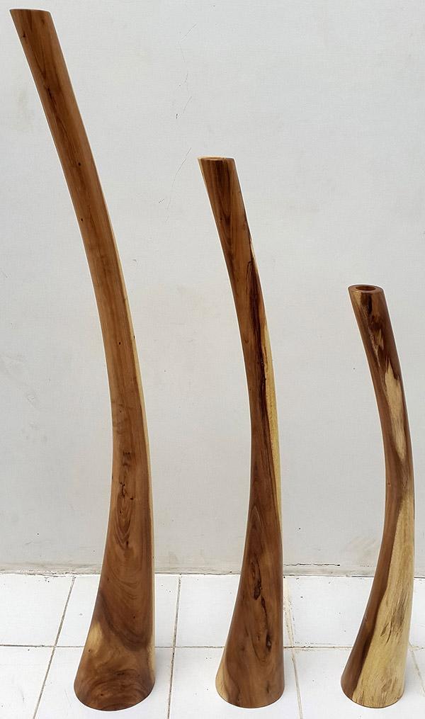 set of 3 wooden standing deco