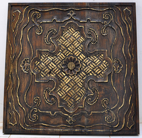 handmade teak carvings with gold finish