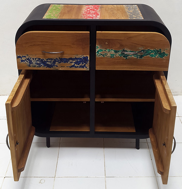 indonesian traditional boat wood buffet with two drawers and two doors