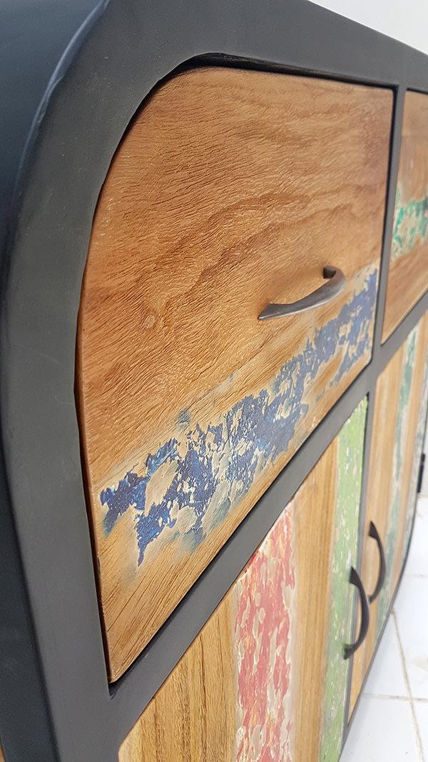 black iron and natural teak sideboard