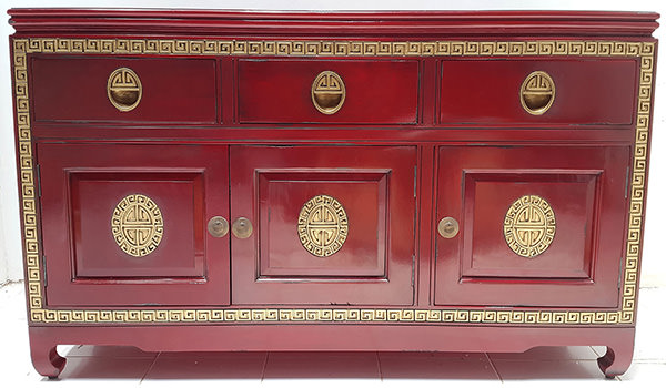 gold and red asian console table