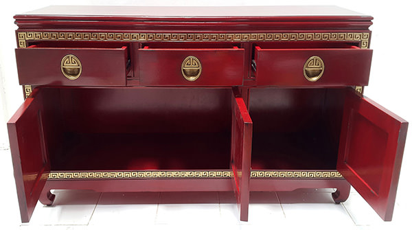 3 drawers and 3 doors gold and red asian console table with carved ornements