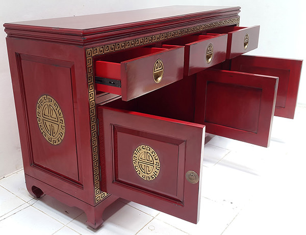 vintage red traditional chinese cabinet