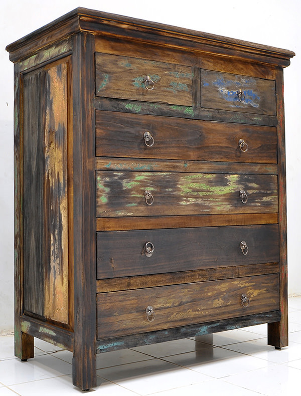 boat wood recycled teak cabinet