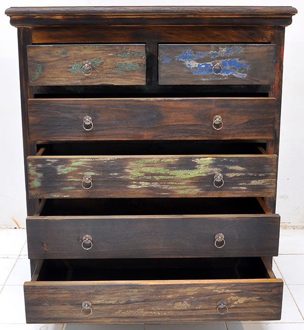 boat wood recycled teak cabinet with six drawers