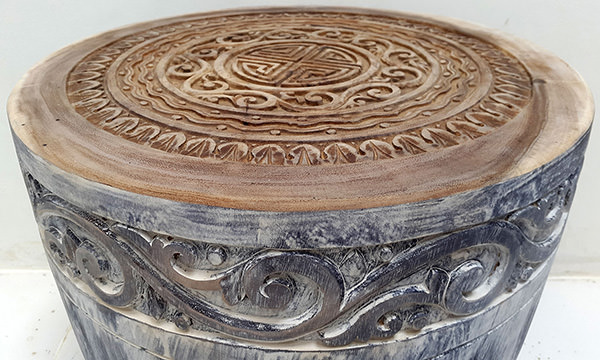 handmade tribal pattern carved natural rain tree